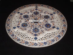 14 Marble Inlaid White Stone Serving Plate Grill Work Decorative Table H4052a