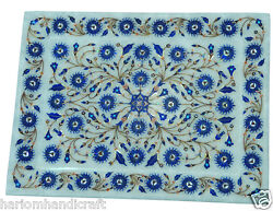 8x12 Marble Serving Tray Plate Lapis Lazuli Inlay Decor And Free Table Lamp Gift