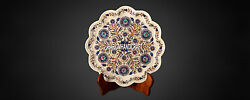 16 Decorative Home Table Marble Inlaid Dish Plate And Free Elephant Statue Decor