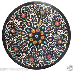 42 Black Marble Dining Coffee Table Top Marquetry Mosaic Inlay Home Decor H2382