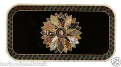 Size 2.5and039x5and039 Marble Side Dining Table Top Rare Pietradure Inlay Mosaic Art H1605