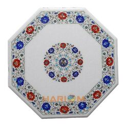 32 Marble Corner Coffee Table Top Lapis Inlaid Marquetry Floral Home Decor W146