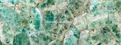Unique Marble Dining Table Top Green Fluorite Inlay Handmade Work Decorate H5605
