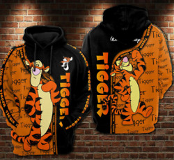 R1 Lovely Tigger Winnie-the-pooh Friend Gift Cartoon 3d Pocket Pullover Hoodie