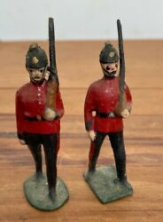 2 X Rare Antique John Hill And Co British Marching Soldiers Lead Soldier Britains