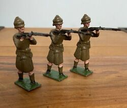 3 X Antique John Hill And Co Wwi Tommy Scottish Regiment Lead Soldiers Britains