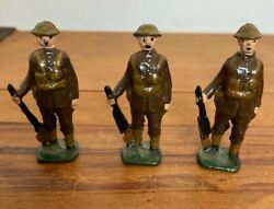 3 X Antique John Hill And Co Wwi Tommy Lead Soldiers Britains