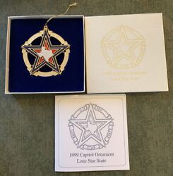 1999 Texas State Capitol Christmas Tree Ornament Lone Star Flag In Box