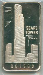 1973 Sears Tower First Nation Bank Chicago .999 Silver Art Bar 1 Oz Swiss 1762