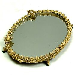 Vintage Vanity Mirror Tray Gold Tone Oval Small Floral Footed Perfume Jewel