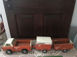 Vintage Nylint U-haul Truck And 2 Trailers Nice Condition