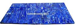 Marble Dining Table Top Mosaic Real Lapis Inlay Interior Kitchen Art Decor H2030