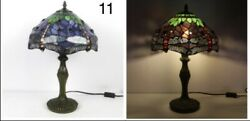Lamp W12 H18 Inch Green/red Dragonfly Baroque Style Stained Glass Shade