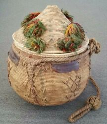 Museum Piece Antique Egyptian Margunah Siwa Oasis Marriage Basket Coil Weave Lid