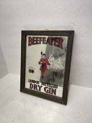 Vintage Beefeater Mirror Bar Sign London Distilled Dry Gin Wall Decor A11