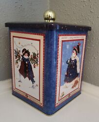 Christmas Themed Snowman Biscuit Tin Metal Cookie Jar Storage Containers