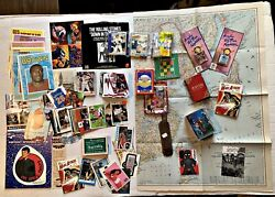 Collectible Junk Drawer Lot Pins Posters Dice Sports Cards Postcards And More
