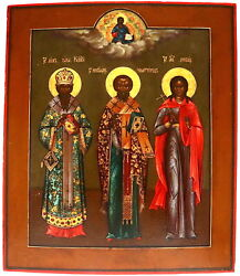 Russian Icon An Icon 19th C. Showing Three Saints