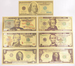 Lots 15 Sets Us Dollar Banknote Color Gold 1-100 Bill Crafts Paper Money New