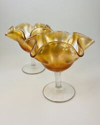 Vintage Marigold Carnival Glass Handkerchief Compotes Candy Dishes Set Of 2