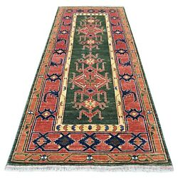 4and039x9and0398 Green Afghan Turkoman Geometric Wool Hand Knotted Runner Rug R56785