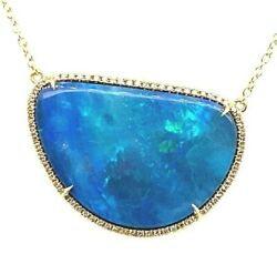 18k-750 Yellow Gold Free Shaped Opal Diamond Pendant With Chain 4.2 Grams