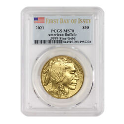 2021 50 American Gold Buffalo Pcgs Ms70 First Day Of Issue 1oz 24kt Coin W/flag