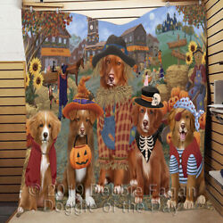 Personalized Halloween And039round Town Nova Scotia Duck Tolling Retriever Dogs Quilt