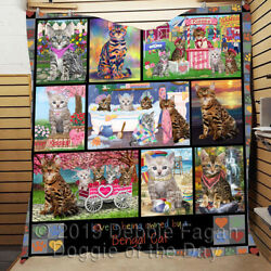 Personalized Love Is Being Owned Bengal Cat Grey Lovers Quilt