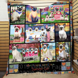 Personalized Love Is Being Owned Siamese Cat Grey Lovers Quilt
