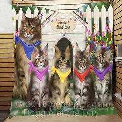 Personalized Spring Maine Coon Cat House Pet Lovers Quilt
