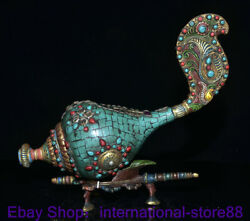 15.6 Old Tibetan Copper Turquoise Gems Conch Shell Trumpet Horn Base Statue