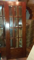 Antique Wooden French Doors Beveled Glass 60 X 83.5 Original Hardware And Trim
