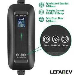 Lefanev Ev Car Charger Timing Lcd 6/8/10/13/16a Schuko Plug Type 2 Evse Iec62196