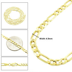 4.5mm Solid Figaro Link Chain 10k Yellow Gold Necklace 16andrdquo To 30andrdquo Inches