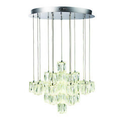 Ceiling Pendant Light - Chrome And Clear Crystal - 30 X 2.7w Led - Bulb Included