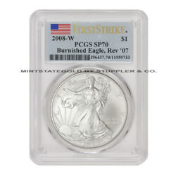 2008-w Reverse Of 07 1 American Silver Eagle Pcgs Sp70 First Strike Burnished
