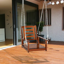 Porch And Backyard Garden Swing Seat Wide Backrest Outdoor Varnish 23 X 27 X 24