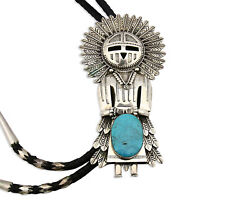 Navajo Bolo Tie .925 Solid Silver Turquoise Artist Signed S C.80's