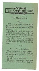 1945 Wwii-era Flier On Video-new England Telephone And Telegraph Co.-navy Pt Boats