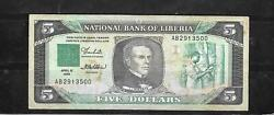 Liberia 19 1989 Vg Circulated Old 5 Dollars Banknote Paper Money Bill Note