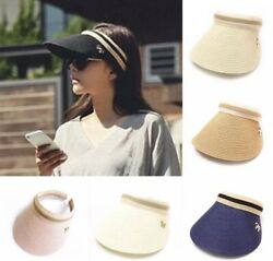 New fashion women summer sun beach straw visor stripe hats $8.99