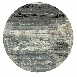 10'x10' Taupe Hi-low Pile Abstract Design Wool And Silk Handmade Round Rug R58559