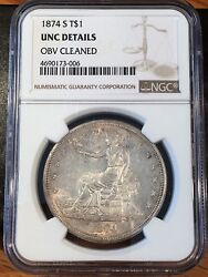 1874-s Trade Dollar - Ngc Uncirculated Details - High Quality Scans 3006