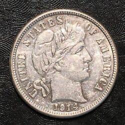 1914-s Barber Dime - High Quality Scans G702