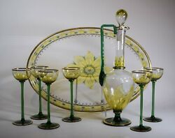Rare Theresienthal Myerand039s Neff 8 Piece Decanter Set With Tray
