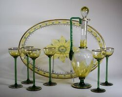 Rare Theresienthal Myer's Neff 8 Piece Decanter Set With Tray