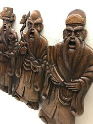 Three Hand Carved Wooden Statues Oriental Asian Wall Hangings Decor Vintage