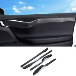 For Tesla Model X/s 2012-2021 Real Carbon Fiber Inner Door Panel Strip Trim 4pcs