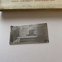 Avco Lycoming Engine Data Plate Lio-360-c1e6 With Piper Log Book